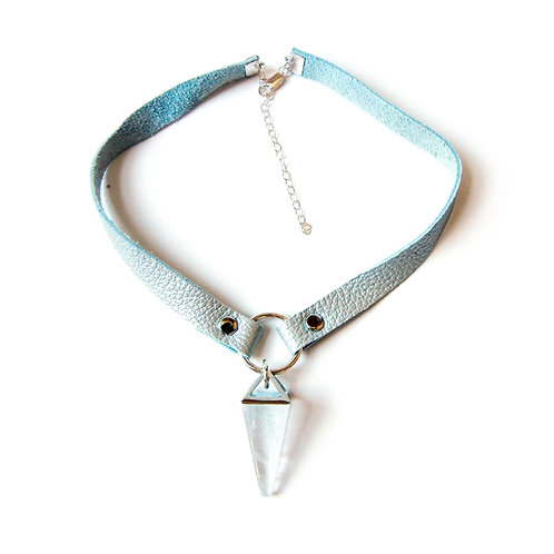 Quartz & Leather Choker