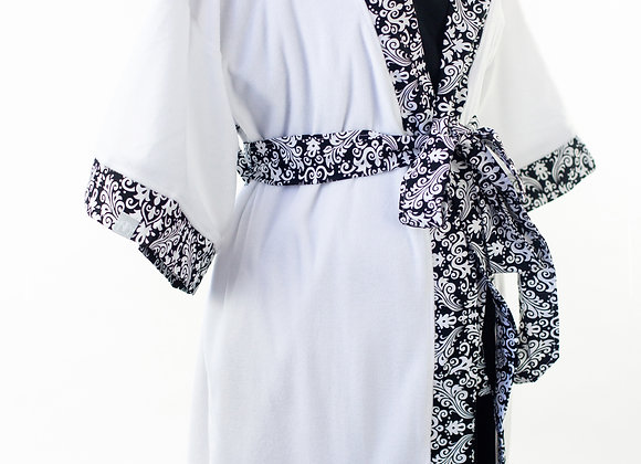 Black Damask - Maternity Nursing and Delivery Gown with Matching Kimono Robe Set