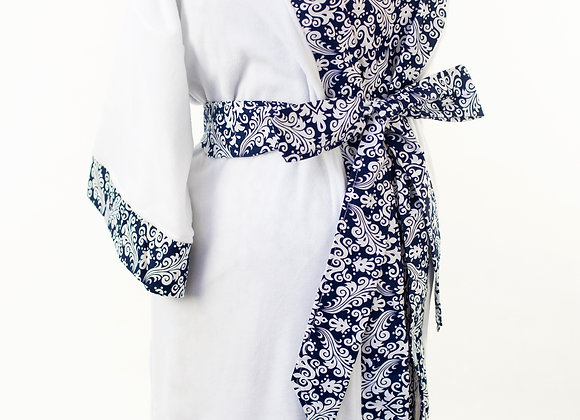 Navy Damask - Maternity Nursing and Delivery Gown with Matching Kimono Robe Set
