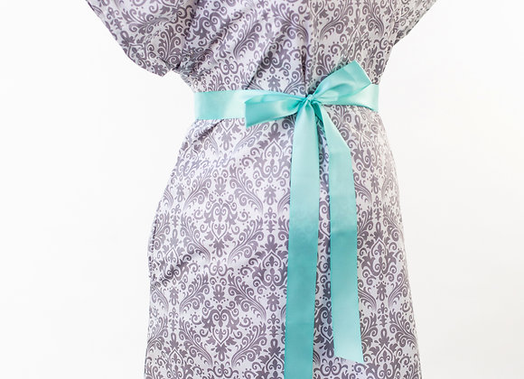 Grey Damask - Maternity Nursing and Delivery Gown