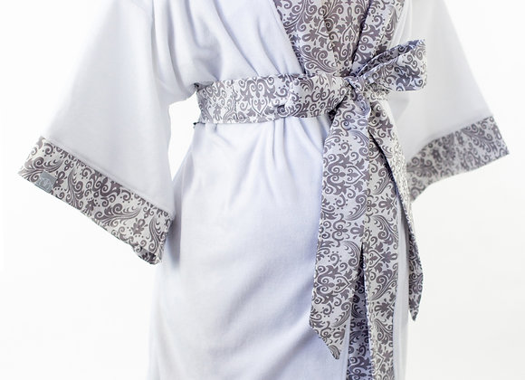 Grey Damask - Maternity Nursing and Delivery Gown with Matching Kimono Robe Set