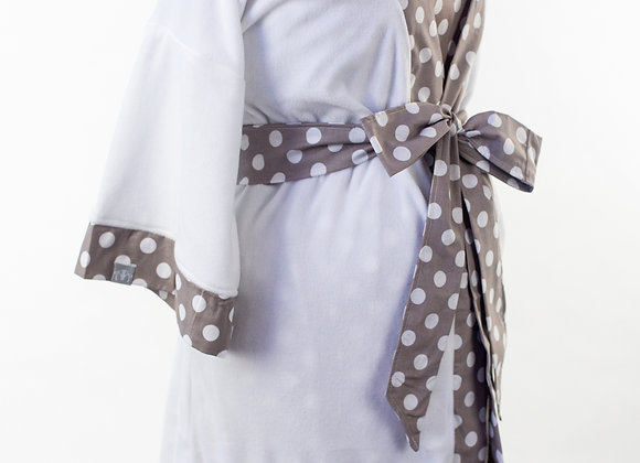 Gray Polka Dot – Maternity Nursing & Delivery Gown with Matching Kimono Robe Set