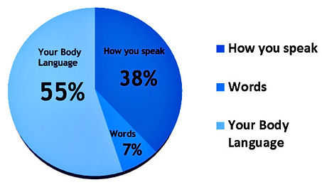chart, blue, language, impression, communication, clues, communicative clues, speak, word, body, body language, percent