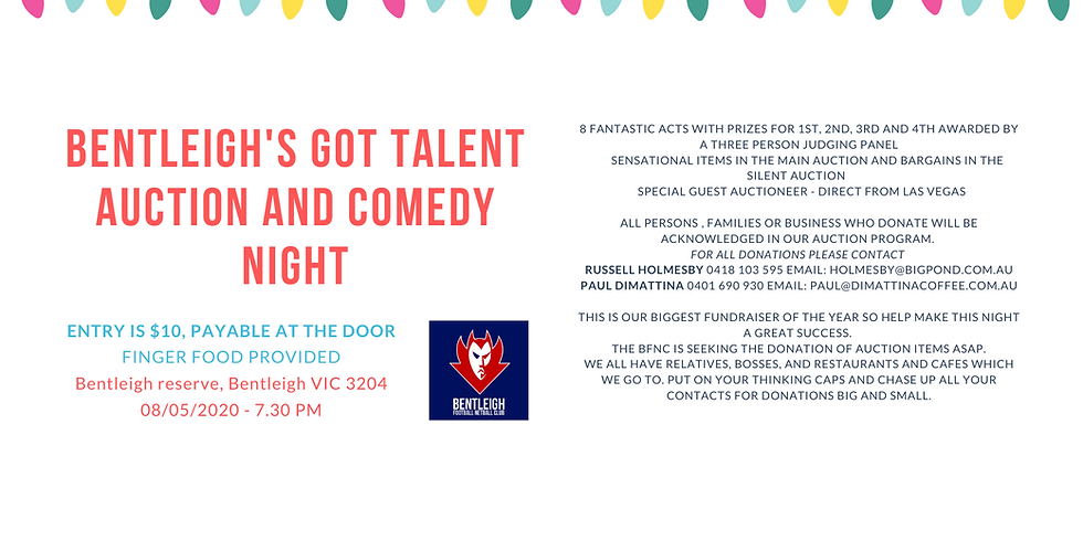 Bentleigh's got talent auction and comedy night