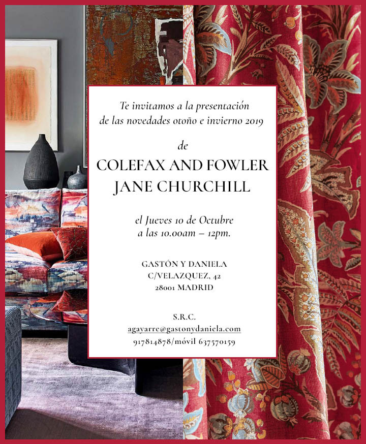 The Colefax and Fowler and Jane Churchill invitation was sent to the press for a preview event in Madrid to introduce the new collections.  Responsible for the design and coding.