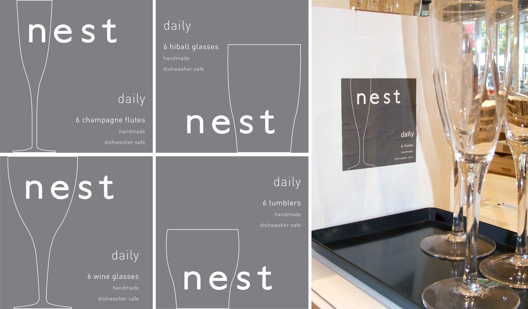 New packaging created for Nest glasseware range.