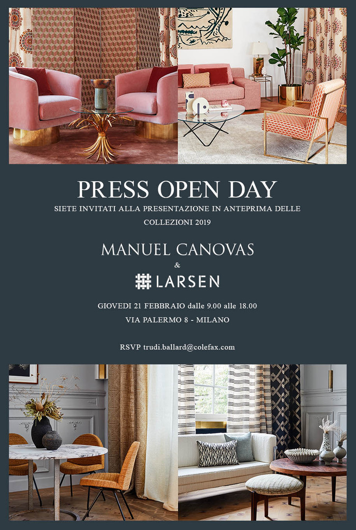 The Manuel Canovas and Larsen invitation was sent to the press for a preview event in Milan to introduce the new collections. Responsible for the design and coding.