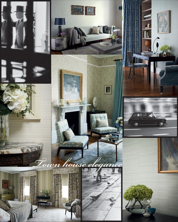For the first pattern book flysheet, a selection of 'town' lifestyle images along with selected collection images, along with collection graphics were used  to convey the feel of the collection.