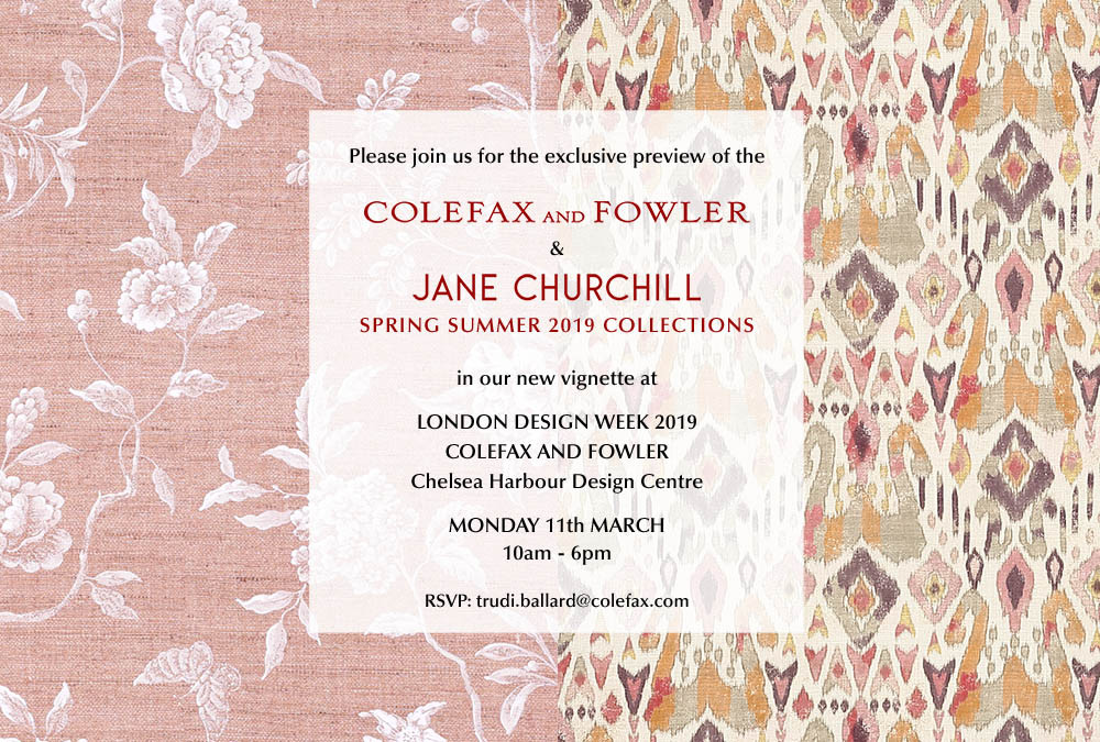The Colefax and Fowler and Jane Churchill invitation was sent to press and trade customers to the launch of new collections. Responsible for the design and coding.