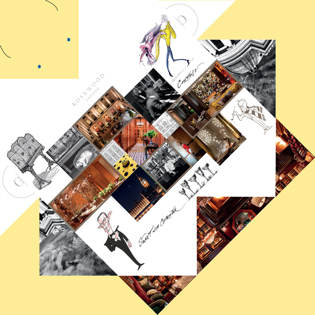 ... with each fold, images emerge, revealing different parts of the hotel: The Holborn Dining Rooms, Scarfes Bar, The Mirror Room . . .