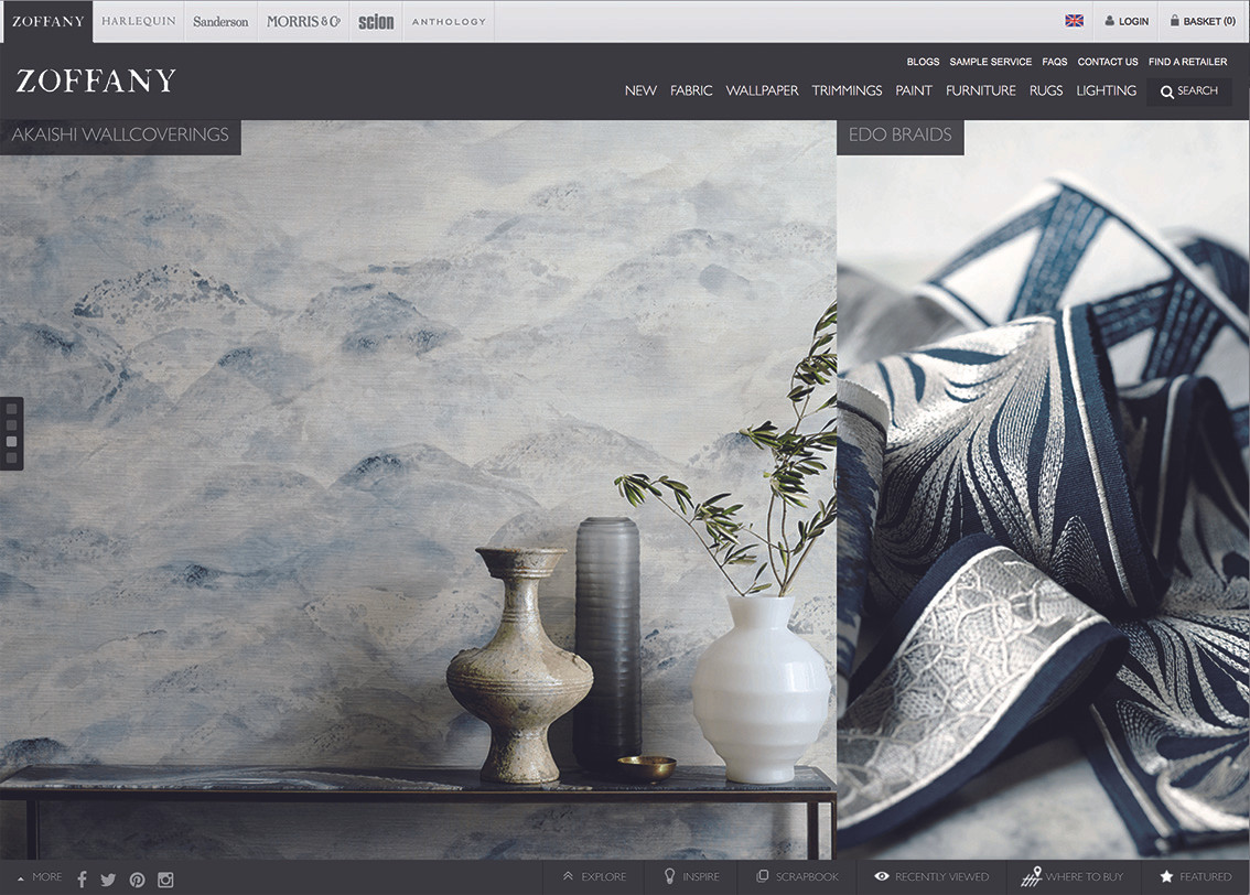 The Zoffany web page update featuring the Akashi collection.