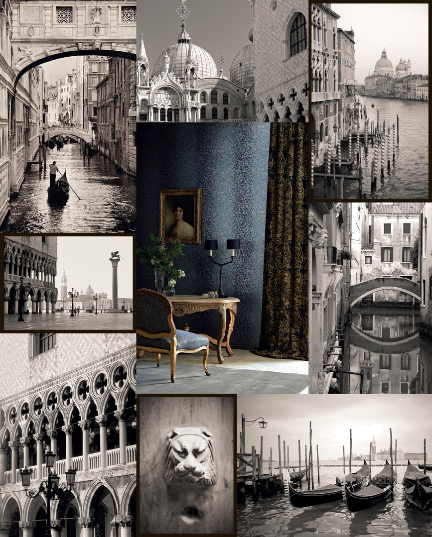 The front flysheet for the Zoffany Town & Country wallpaper pattern book, with a collage of images of Venice surrounding one of the collection images.