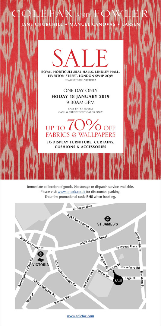 An email announcement for the annual Colefax and Fowler sale was sent to all customers on the mailing list. Responsible for the design and coding.
