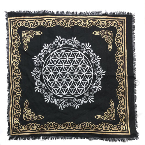 "Altar Cloth/Tapestry Flower of Life 24"" x 24""(black)"