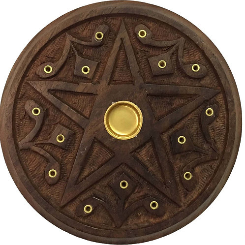 Wooden Round Plate Burner Pentacle