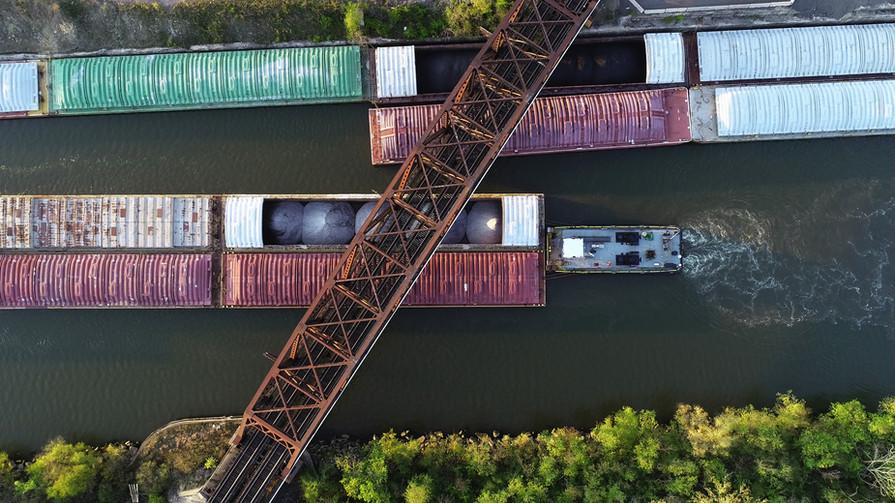 Barge Under Bridge