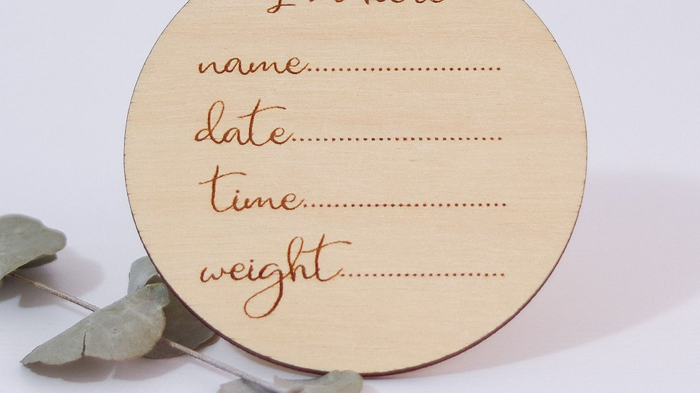 'I'm Here' Wooden announcement disc