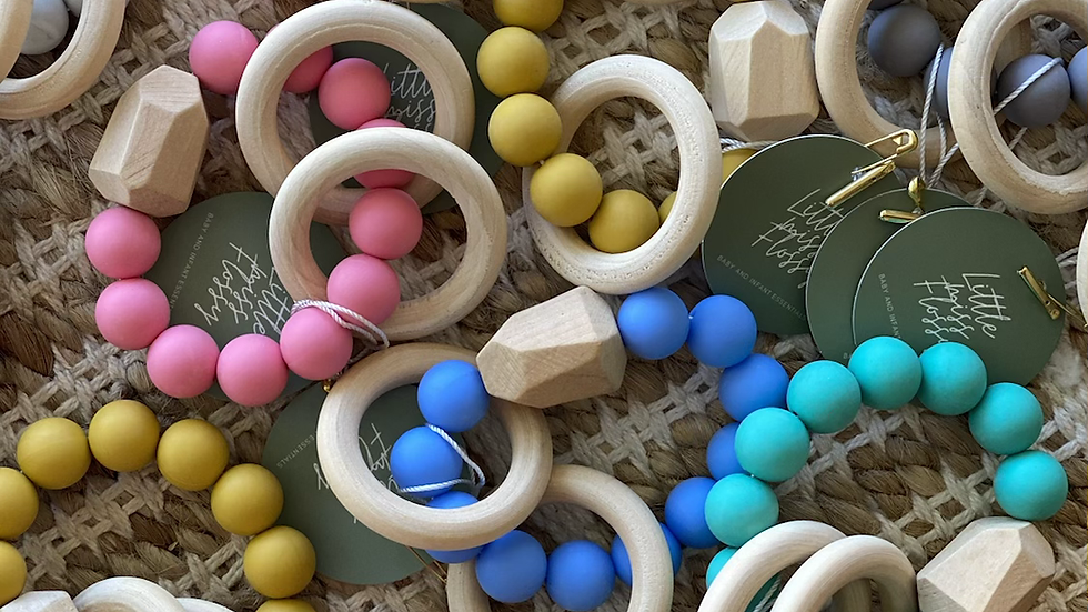Silicone and beech wood Teether's
