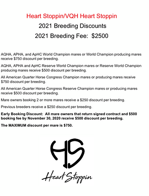 2021 Heart Stoppin Breeding Discounts