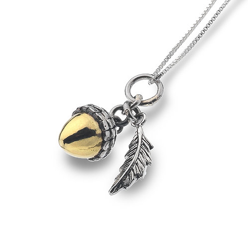 Pure Origins Sterling Silver & Brass Acorn Necklace