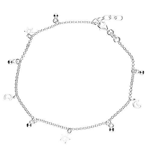 Seodra Sterling Silver Moon & Stars Ankle Bracelet