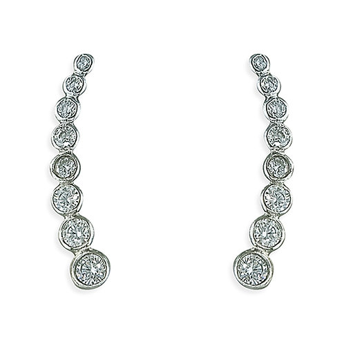 Seodra Sterling Silver & Cubic Zirconia  Graduated Ear Climber Earrings