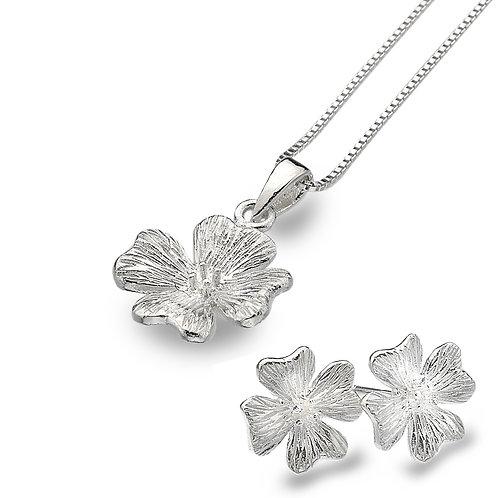 Pure Origins Sterling Silver Geranium Flower Necklace & Earring Set