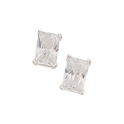 Seodra Sterling Silver & Cubic Zirconia Baguette Stud Earrings
