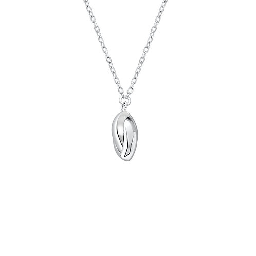 Seodra Sterling Silver Split Oval Drop Necklace