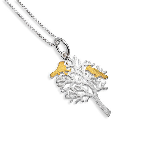 Pure Origins Sterling Silver Tree with Birds Necklace
