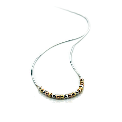 Virtue Exquisite Sterling Silver Three colour Bead Necklace