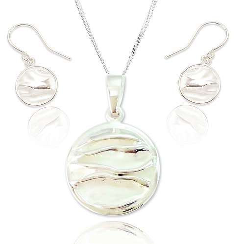 Seodra Sterling Silver Ruched Disc Necklace and Earrings