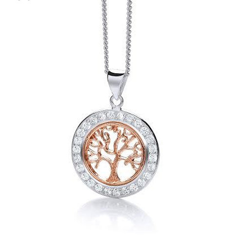 Seodra Silver & Rose Gold Tree of Life Necklace