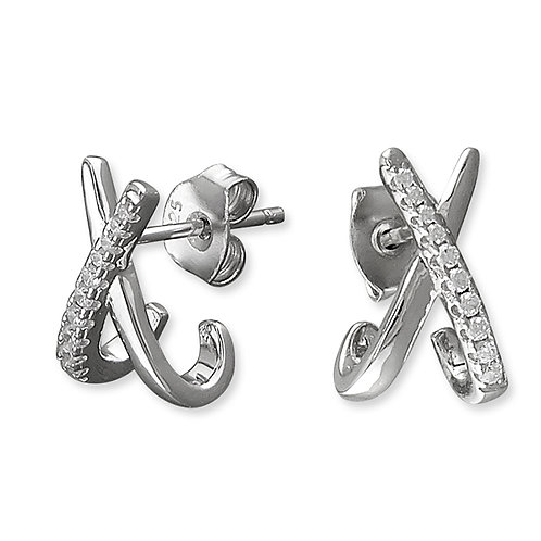 Seodra Sterling Silver & Cubic zirconia Crossover Stud Earrings