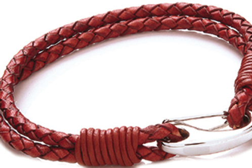 Tribal Steel Red Leather Two Strand Bracelet