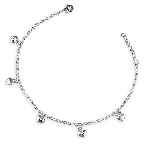 Seodra Sterling Silver Hearts Ankle Bracelet