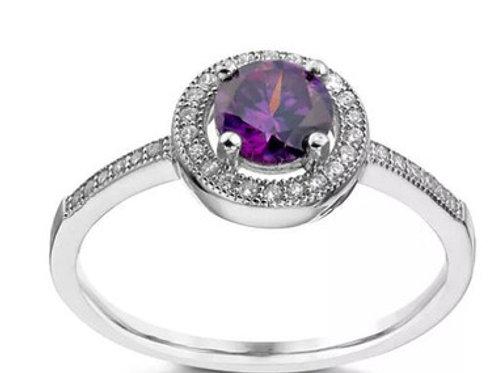 Seodra Silver Amethyst Halo Ring