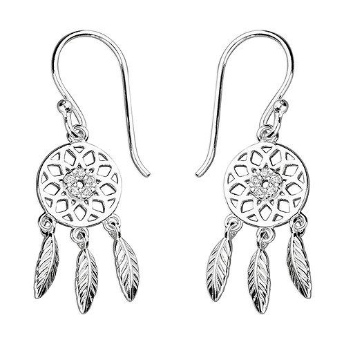 Seodra Sterling Silver & Cubic Zirconia Dreamcatcher Earrings