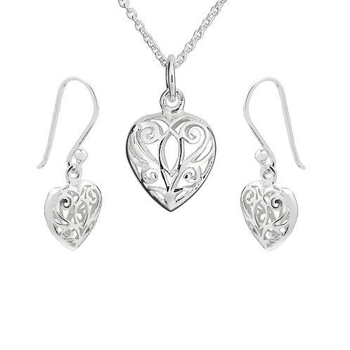 Seodra Sterling Silver Filigree Puff Heart Necklace & Earrings Set