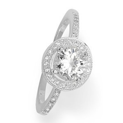 Seodra Sterling Silver & Cubic Zirconia Halo Cluster Ring