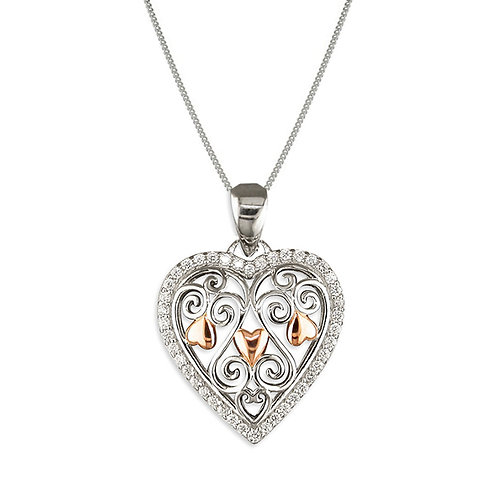 Seodra Sterling Silver & Rose Gold Heart Necklace