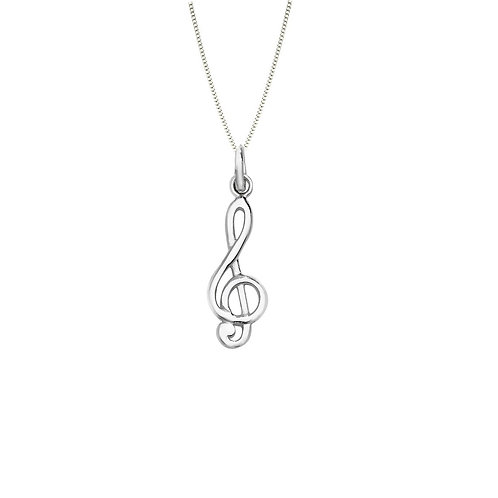 Seodra Sterling Silver Treble Clef Necklace