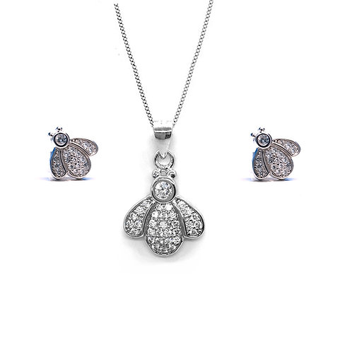 Seodra Sterling Silver & Cubic Zirconia Bumble Bee Set