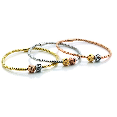 Virtue Exquisite Sterling Silver Coreana Double Bead Bangle