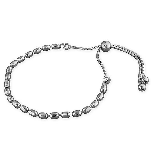 Seodra Sterling Silver Rice Bead Slider Bracelet