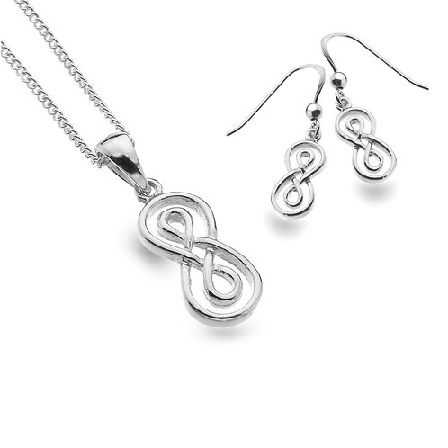 Celtic Lands Sterling Silver Infinity Knot Necklace & Earrings
