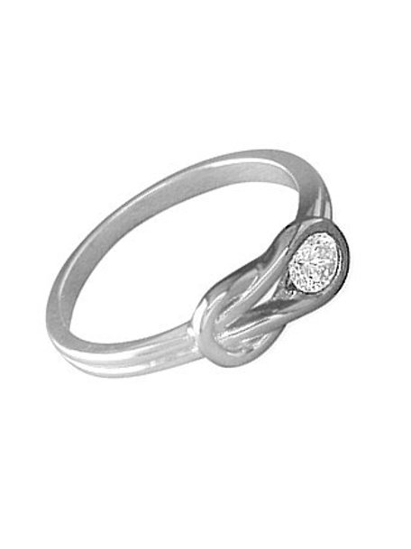 Seodra Sterling Silver & Cubic Zirconia Knot Ring