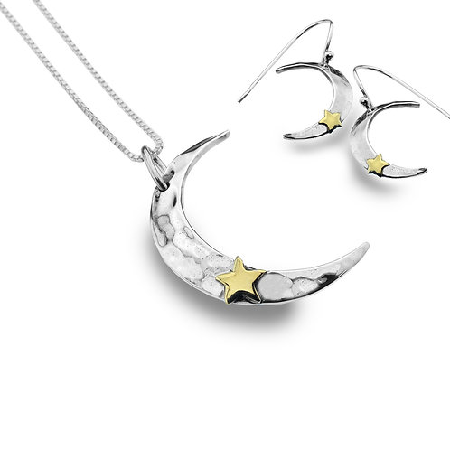 Pure Origins Moon and Stars Pendant & Earring Set