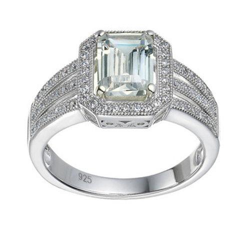 Seodra Sterling Silver & Cubic Zirconia Emerald Cut Halo Ring