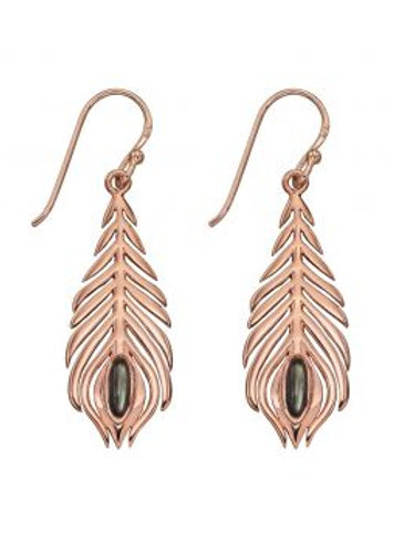 Elements Sterling Silver Rose Peacock Feather Earrings